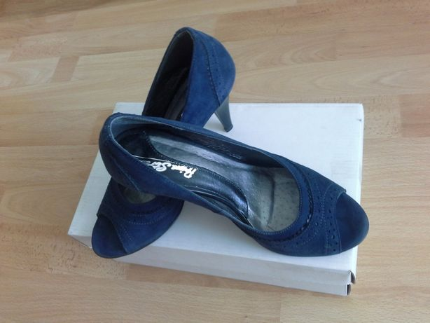 Туфлі-босоніжки натуральні замшеві темно-сині з відкритим носиком на к