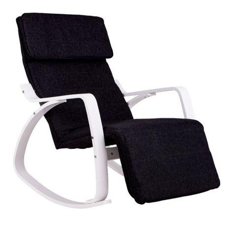 Fotel bujany biało czarny krzesło