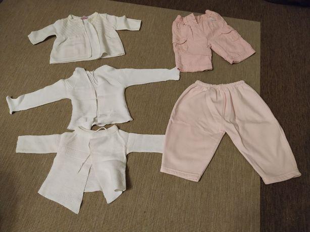Ciepłe ubranka 56 sweterek kaftanik śpiochy spodnie paka