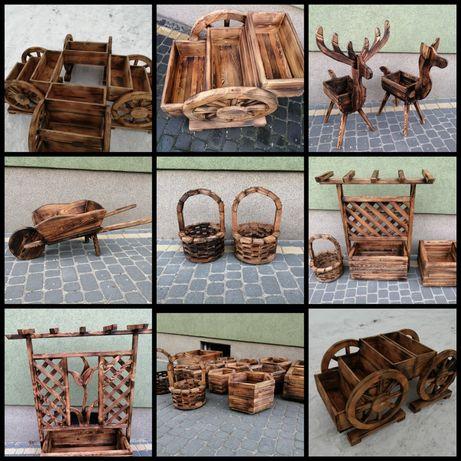 Doniczki ogrodowe z drewna