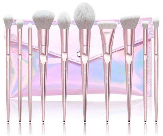 Nowe pędzle Jessup Luxury Light Pink T260 zestaw 10szt + kosmetyczka