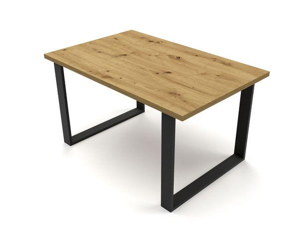 Stół Loft 125x80 DĄB wotan, kraft złoty, artisan, stirling nogi metal