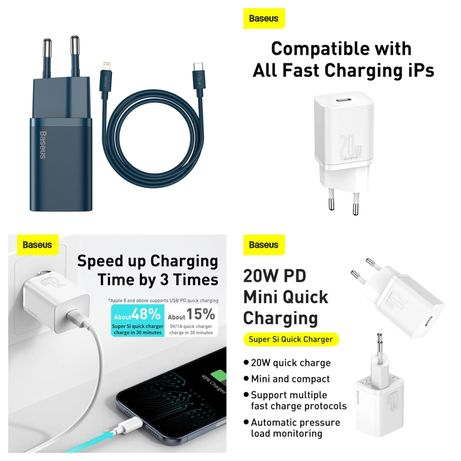 Carregador Iphone Fast Charge 20W C/ cabo Azul - Baseus-Novo-24h