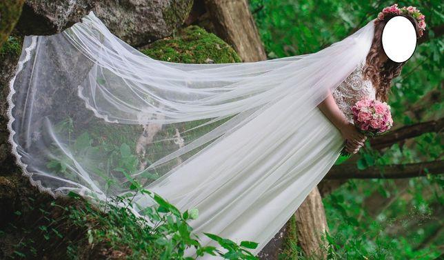 Suknia ślubna szyta na wymiar r. 40-42 kolor ivory z długim welonem