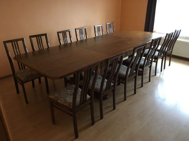 Stół dębowy rozkładany 12-osobowy