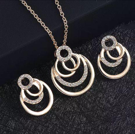 Geometryczny zestaw biżuterii z cyrkoniami