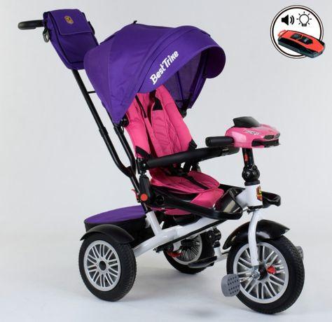 Трехколёсный велосипед с ручкой, надувные колёса,поворот сидения ровер