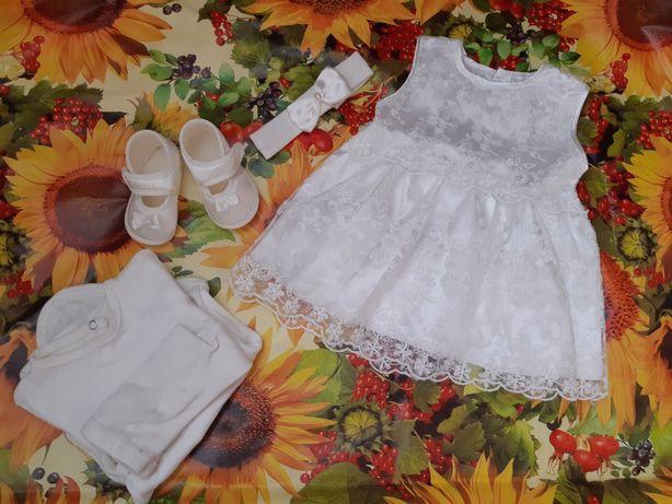 Платье,набор на Крещение от 0-3мес