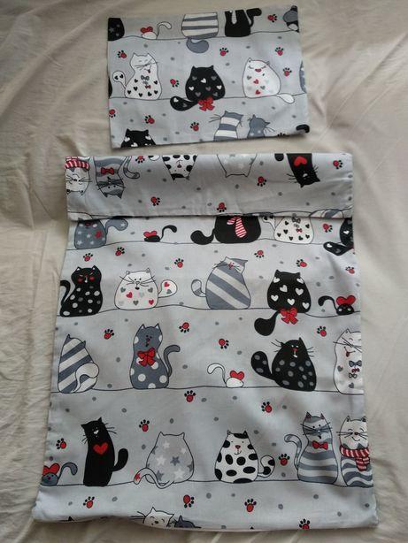Pościel do łóżeczka dla niemowlęcia handmade kotki