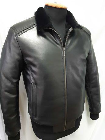 Зимняя кожаная куртка, дубленка мужская