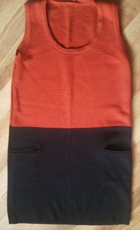Двухцветное трикотажное платье-теплый сарафан 38 eur (на S-m-L)