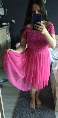 Różowa sukienka koronka z tiulem S wesele