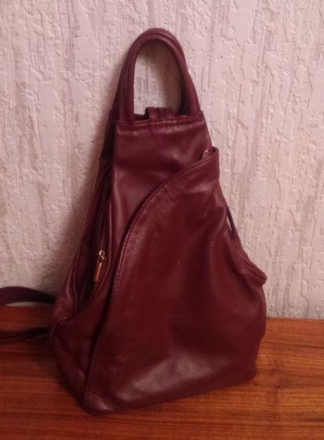 Новый Рюкзак бордовый, кожа, Италия