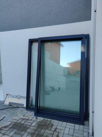 3 Janelas alumínio Sosoares LT com vidro duplo 6-20-5 (COR RAL7016)