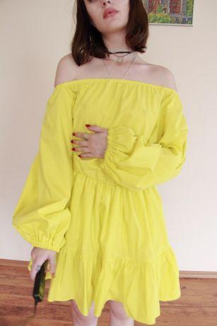 Платье сочного канареечного цвета с отрезной талией рукав 3/4 р-р 42.