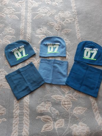 Новая димесезонная шапка, шапочка + хомутик для мальчика 2-5 года