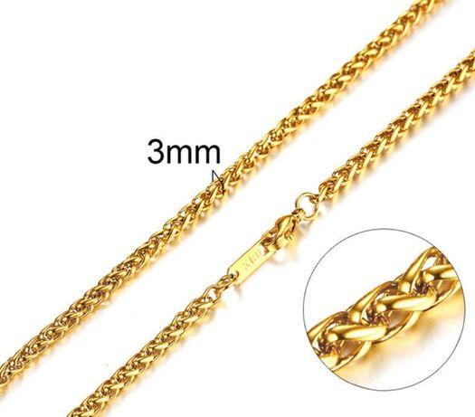 Colar em malha Byzantine Folheado a Ouro 18K 3mm 61 cm 15g