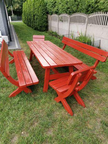 Stół ogrodowy 2,5mx088m + ławki i krzesła