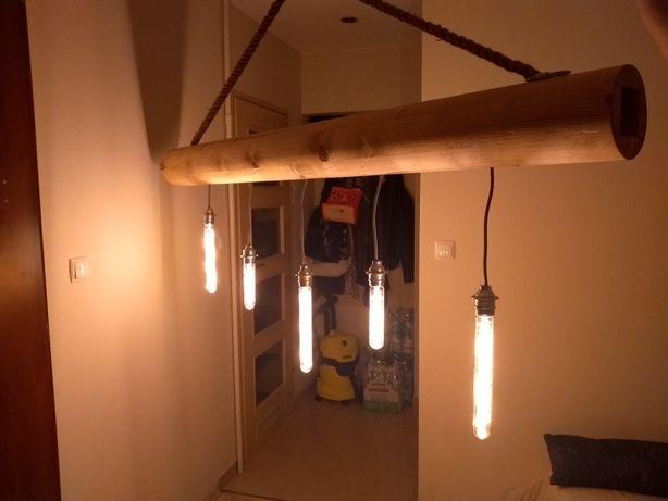 Lampa do wysokiego wnętrza z belki drewnianej 170cm,sznura oraz 5xLED