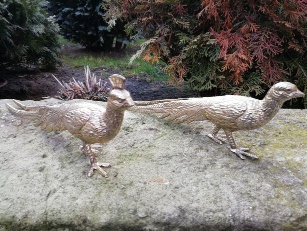 Pawie z srebrzonego mosiądzu 2 sztuki