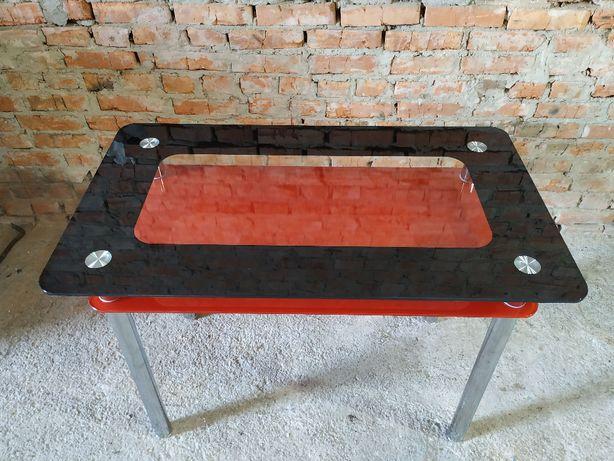Стол стеклянный красное/черное