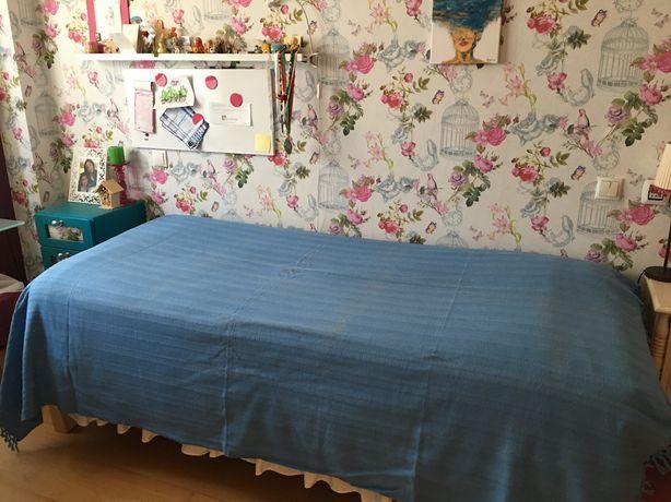 Colcha azul para cama ou sofá Gato Preto
