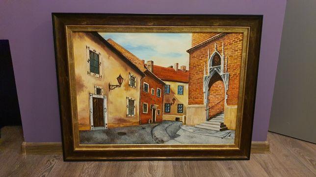 Obraz olejny na płótnie Plac Katedralny Tarnów sygnowany 83x63cm