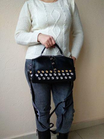 Женская сумка бочонок через плечо из натуральной кожи