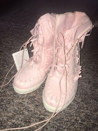 Sneakersy różowe, fredzle, nowe 41