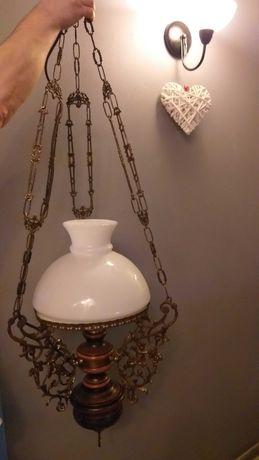 Stara lampa mosiądz z drewnem
