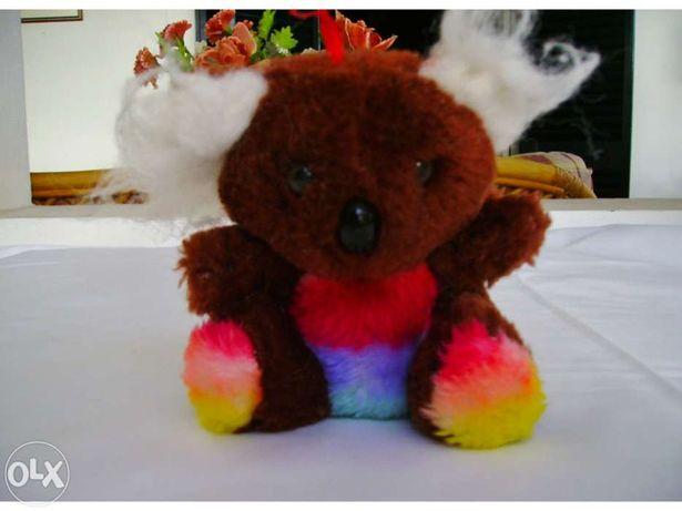 Urso de Peluche Castanho c/riscas de cores!