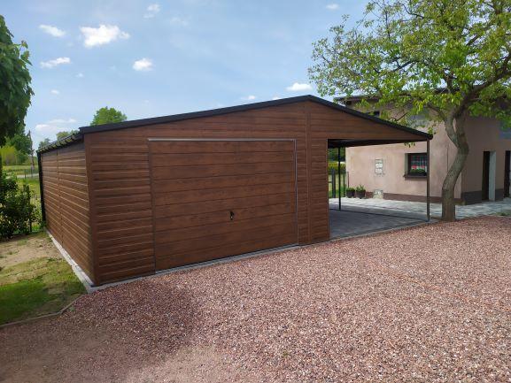 Garaż blaszany drewnopodobny Nowoczesny dowolna konfiguracja