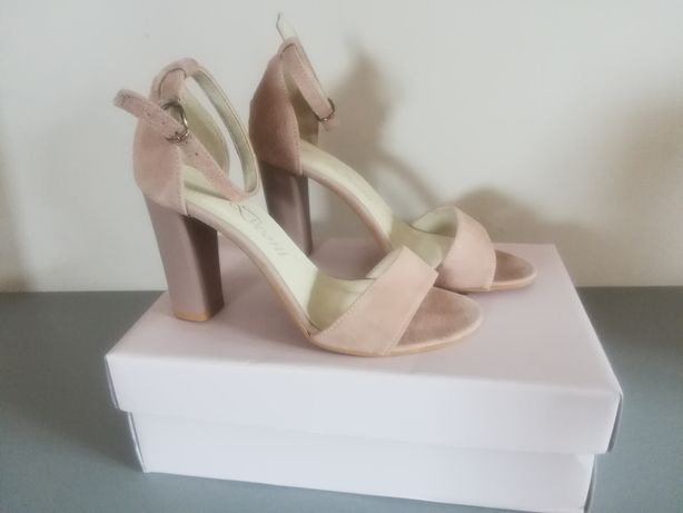 Sandały damskie na słupku skórzane 38 Venezia