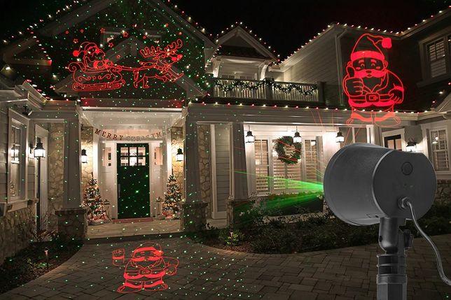 Projektor lserowy świąteczny Mikołaj i Sanie 2 kolory RUCHOMY MIKOŁAJ