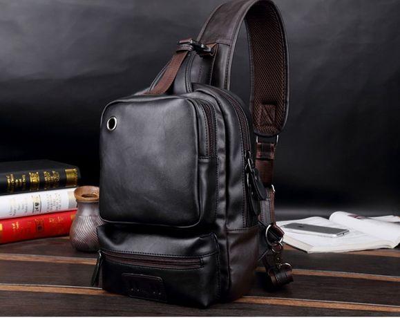 Мужская черная коричневая сумка мужской черный коричневый рюкзак 2в1