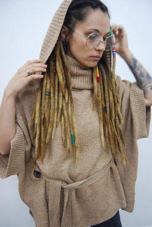 Sweter h&m narzutka oversize M beżowa luźna