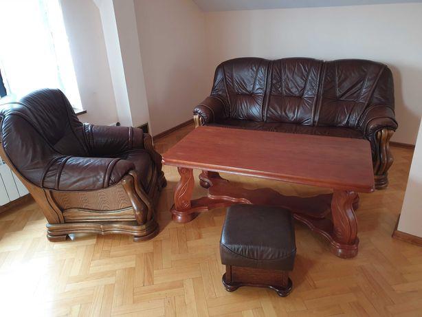 Wypoczynek skórzany + stół