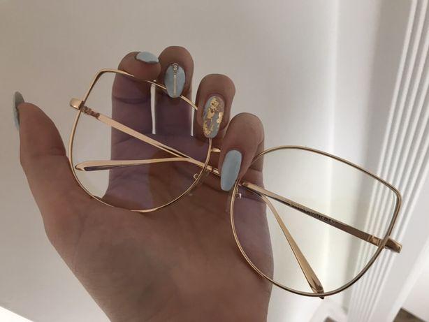 Oprawki złote gold okulary zerówki