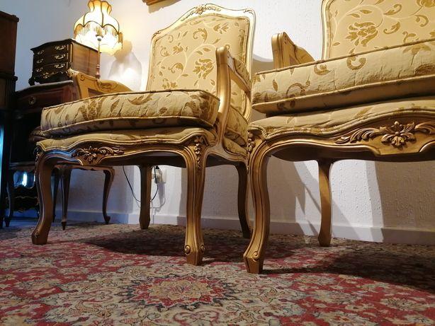 Par Bergères (ou Cadeirões Poltronas Cadeiras braços) estilo Luís XV