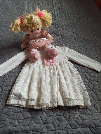 Sukienka biała, na chrzest , długi rękaw, r.80