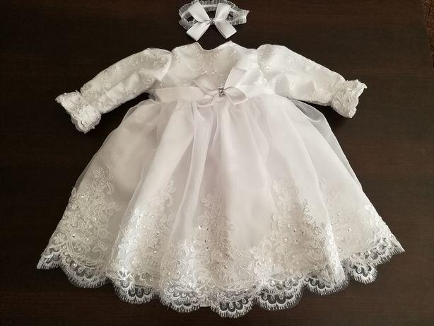 Komplet chrzest 62 sukienka płaszczyk futerko jesień zima