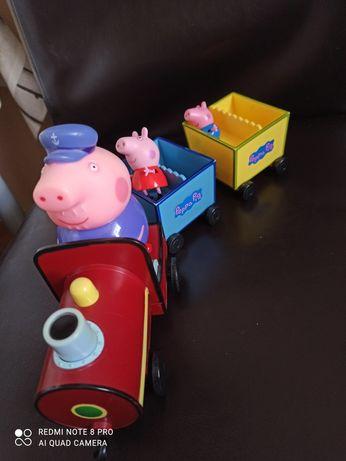 Lokomotywa pociąg dziadka świnka peppa