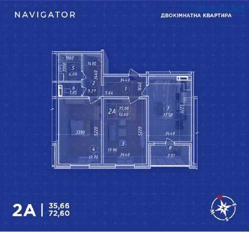 2к ЖК Навигатор пер Балтийский, 23 -68 200 $
