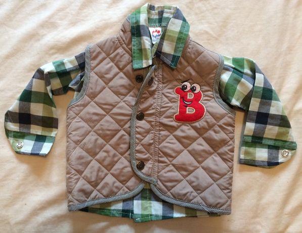 Nowy zestaw jesienny zimowy koszula ocieplacz bezrękawnik kamizelka