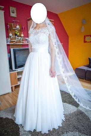 Suknia ślubna (dół muślin, góra koronka)