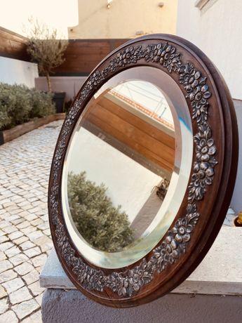 Espelho toucador pau santo e prata