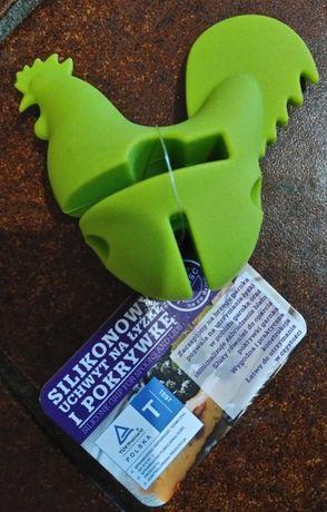 Nowy silikonowy uchwyt na łyżkę i pokrywkę w kształcie koguta