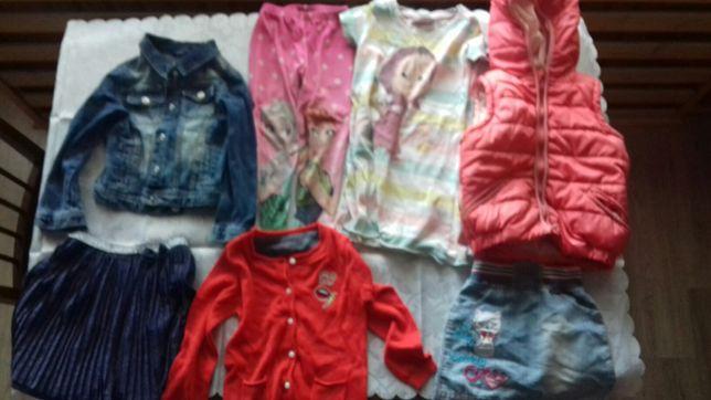 Ubranka ubrania dla dziewczynki 98 110 spodnie sukienka kurtka kostium