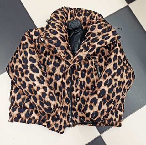 Kurtka puff panterka leopard Leo puchowa oversize