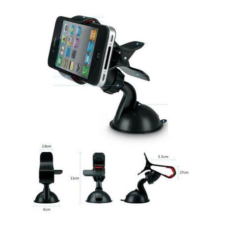 Suporte de telemóvel c/ ventosa para-brisas do carro - Preto